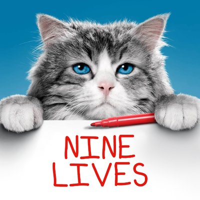 A photo of a cat as the phrase nine lives